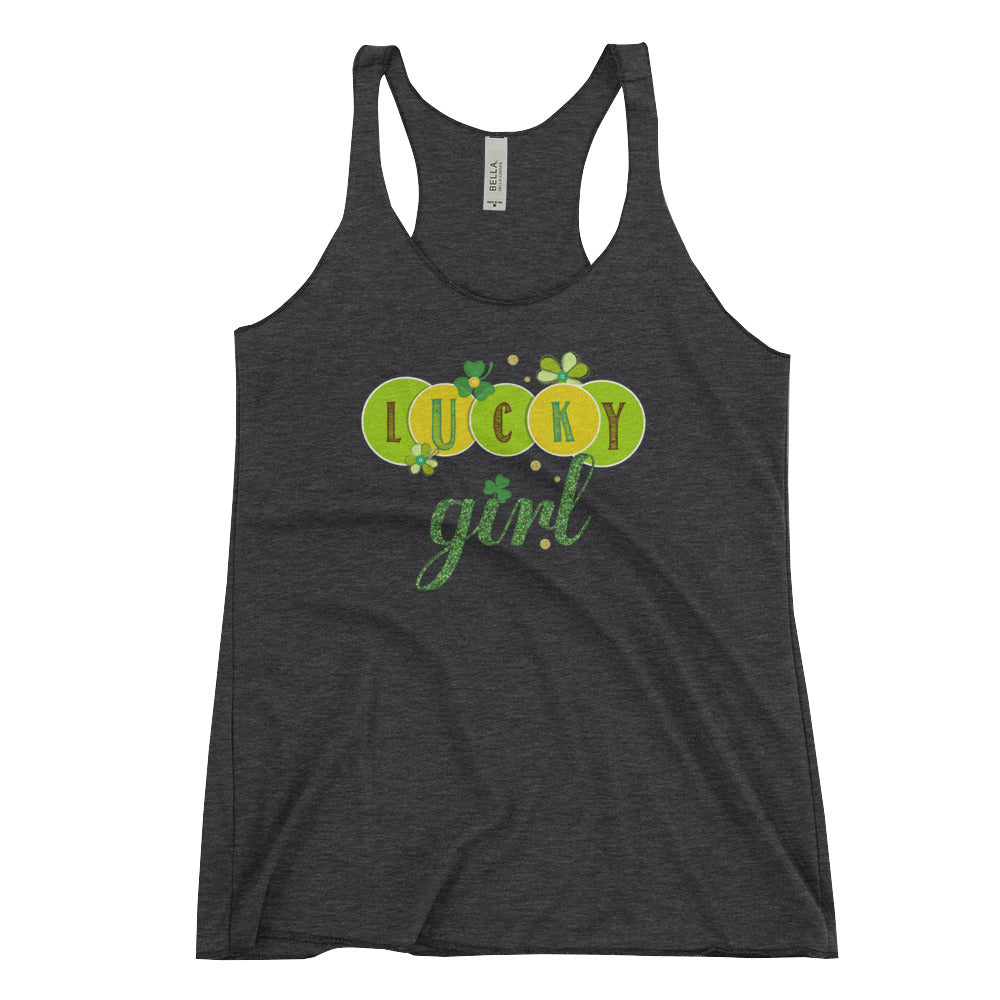 St Patricks Day - April Fools Workout Racerback Tank Lucky Girl - St Paddys St Patrick's Shirt - CraftyKizzy