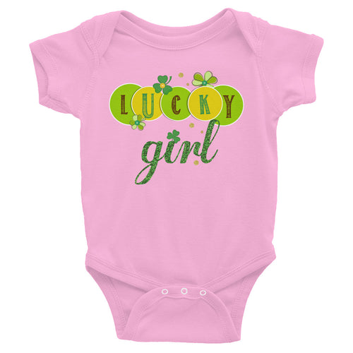 Lucky Girl St Patrick's Day Bodysuit - Infant Shirt - Toddler Outfit - Green Shamrocks Sizes NB-24M