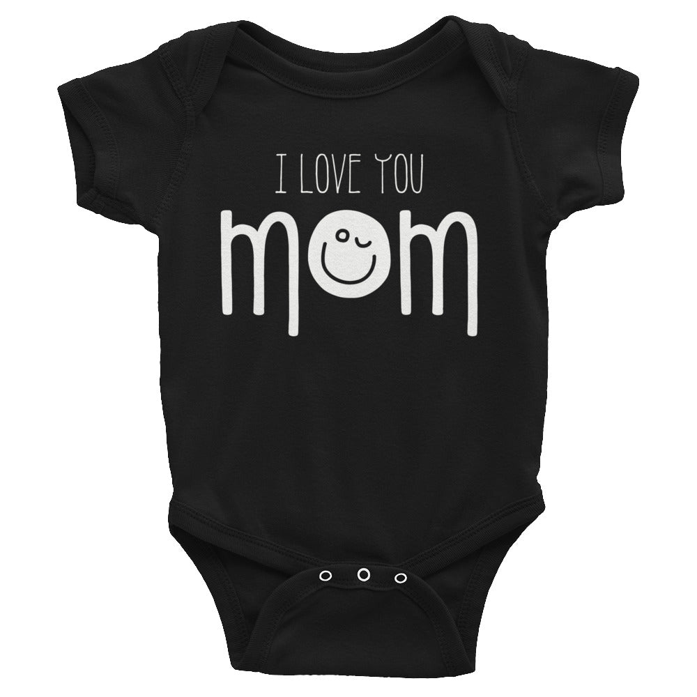 Infant Smiley Face Shirt - I Love You Mom Bodysuit - Emoji Shirt - Clothing Romper Sizes NB-24M