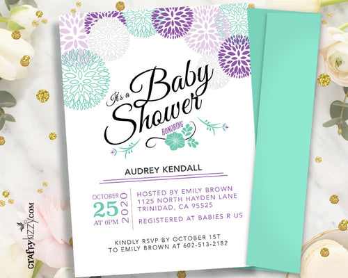 Purple Modern Baby Shower Invitation - It's A Girl - Printable Girl Baby Shower Invitation - Lavender and Mint  Baby Shower Announcement