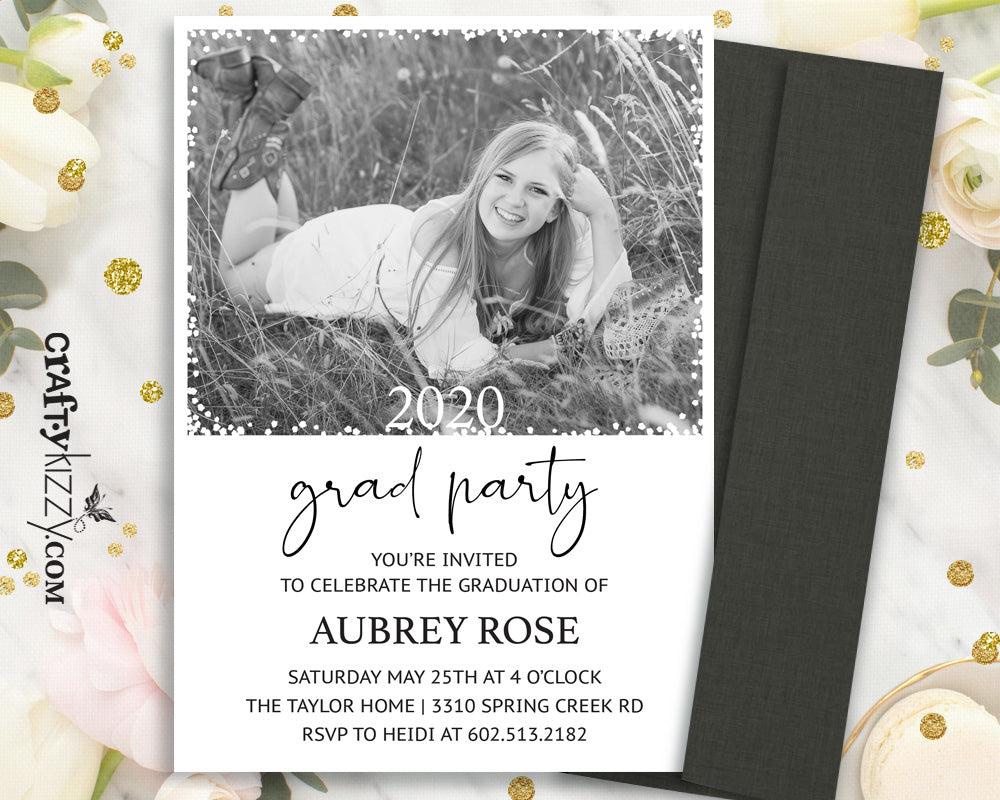 Modern Graduation Invitation - Senior Grad Announcement - High School Graduation Card - College Grad Invitations - With Photo - CraftyKizzy