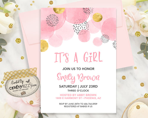Modern Baby Shower Invitation - It's A Girl - Printable Girl Baby Shower Invitation - Pink and Gold Baby Shower Announcement