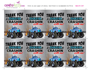 Blue Monster Truck Thank You Tags - Red Transportation Party Thank you Goodie Bag Tags - INSTANT DOWNLOAD