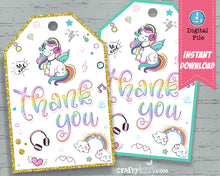 Unicorn Thank You Favor Tags - Headphone Thank You Tags - Tween Rainbow Birthday Party Favor Tag - INSTANT DOWNLOAD - CraftyKizzy