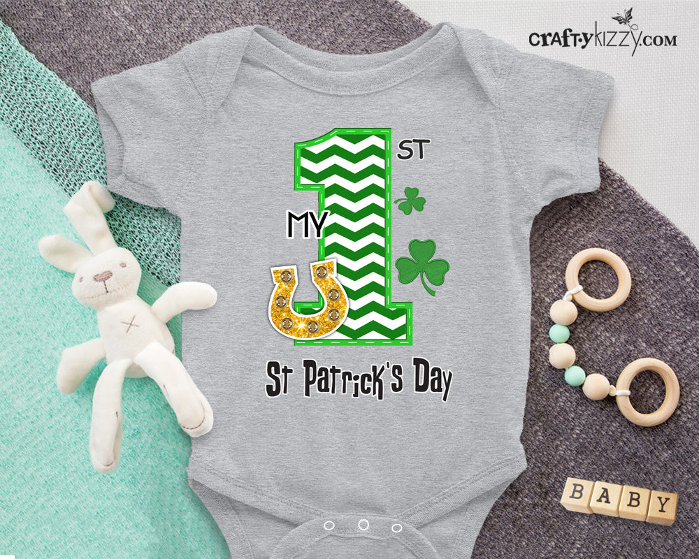 Infant My First St Patrick's Day Shirt - Bodysuit - Unisex - Girls & Boys - St Patricks T-shirt Sizes 6M-24M
