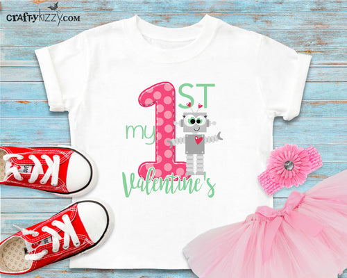 My First Valentine's Day Outfit - Cute Valentines Day Tshirt - Robot Valentine T-shirt - 1st Valentine Shirt - Girl Shirts