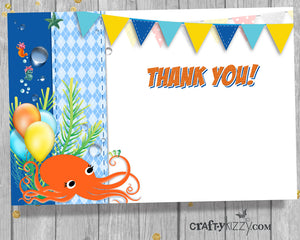 Nautical Under The Sea Thank You Card - Octopus - Boy's Birthday Thank You Cards - INSTANT DOWNLOAD - CraftyKizzy