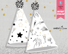 New Year's Eve Party Hat Printables - Happy New Year Kid Party Hats - New Years Party Favors - Kids Party Hat - INSTANT DOWNLOAD