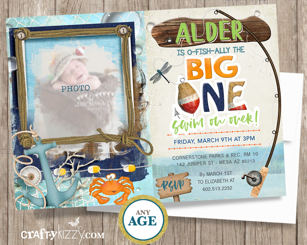 Fishing First Birthday Invitation
