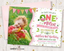 Watermelon First Birthday Invitation - Girls One in a Melon Pink - Printable Summer Party Invitations