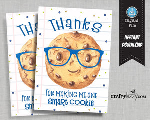 One Smart Cookie - Back to School Printable Tags - Teacher Gift Tag - Teacher Appreciation Favor Tags Teacher Thank You Tag - INSTANT DOWNLOAD