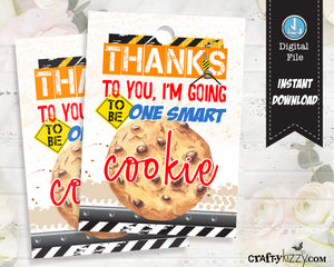 Back to School Tags - I'm going to be One Smart Cookie - Teacher Appreciation Tag - Back to School - First Day of School Label - INSTANT DOWNLOAD