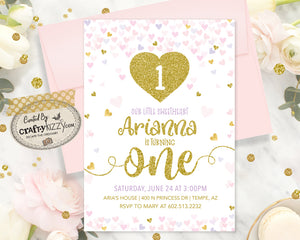 Heart First Birthday Invitation - Girl Valentines Birthday Invitations - Our Little Sweetheart Invitation - Confetti Heart Invitation - CraftyKizzy