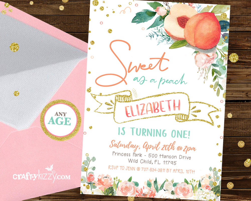 Sweet As A Peach First Birthday Invitation - Girl Georgia Peach Invitations - Printable Summer  Girls Invitations - CraftyKizzy