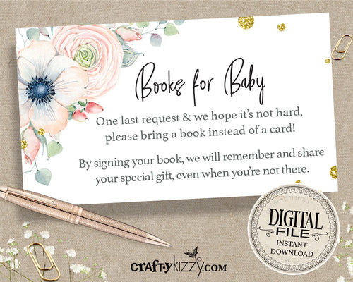 Floral Books For Baby - Girl Baby Shower Book Request Insert - Floral Watercolor Insert Card - INSTANT DOWNLOAD - CraftyKizzy