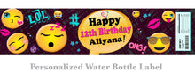 Happy Birthday EMOJI Water Bottle Labels Personalized - Emoji Happy Birthday Favors Digital Label File - Bottle Wrapper