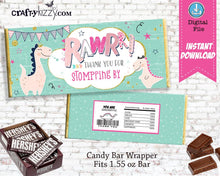 Pink Dinosaur Candy Bar Wrapper - Princess Dino Birthday Party Favors - INSTANT DOWNLOAD - CraftyKizzy