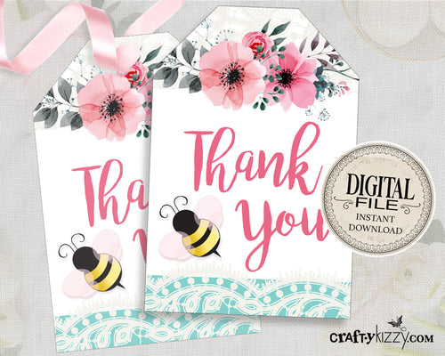 Bee Thank You Favor Tags - Pink Bee Thank You Tags - Baby Shower Birthday Thank You Tags - INSTANT DOWNLOAD