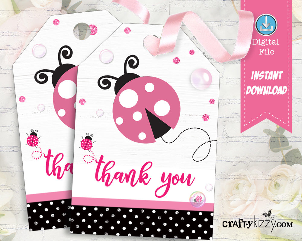 Ladybug Thank You Favor Tags - Baby Shower Ladybug Thank You Tag - Pink Ladybug Theme Tags - INSTANT DOWNLOAD - CraftyKizzy