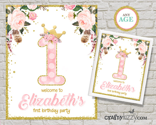 Princess Welcome Sign - Floral Birthday Table Decoration