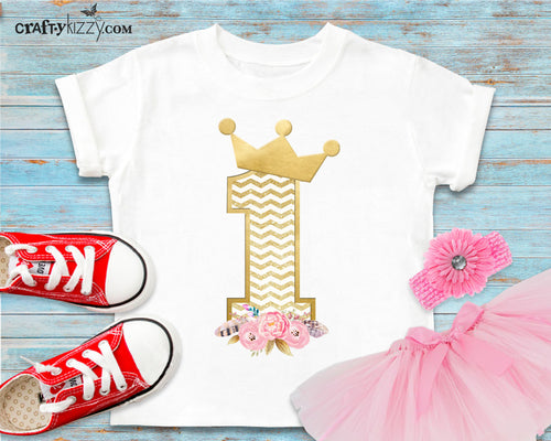 Princess First Birthday Tshirt - Floral Princess One T-shirt - First Birthday Outfit - Gold Birthday Crown Shirt - Toddler Girl Shirts