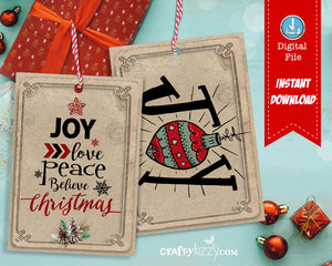 Christmas Gift Tags Printable - Holiday Favor Tags - Joy Peace Love - Holiday Gift Tag - INSTANT DOWNLOAD