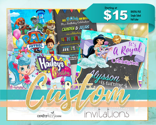 Custom Invitation Design - Joint Birthday - Events - Baby Shower - Wedding - Birth Announcement - Unique Invitations For All Occassions - CraftyKizzy