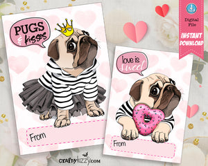 Pug Valentines Day Cards For Kids - Pug Valentine's - Classroom Exchange Cards - INSTANT DOWNLOAD - CraftyKizzy