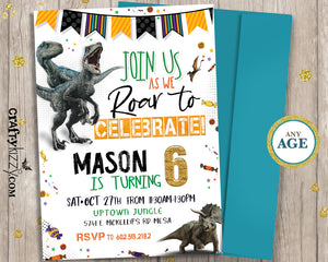 Dinosaur Birthday Invitations - Let's Roar Prehistoric Raptor Invitation - Triceratops - CraftyKizzy