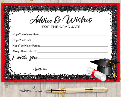 Black and Red Graduation Advice Cards for the Graduate - DIY High School or College Party Favor INSTANT DOWNLOAD - CraftyKizzy