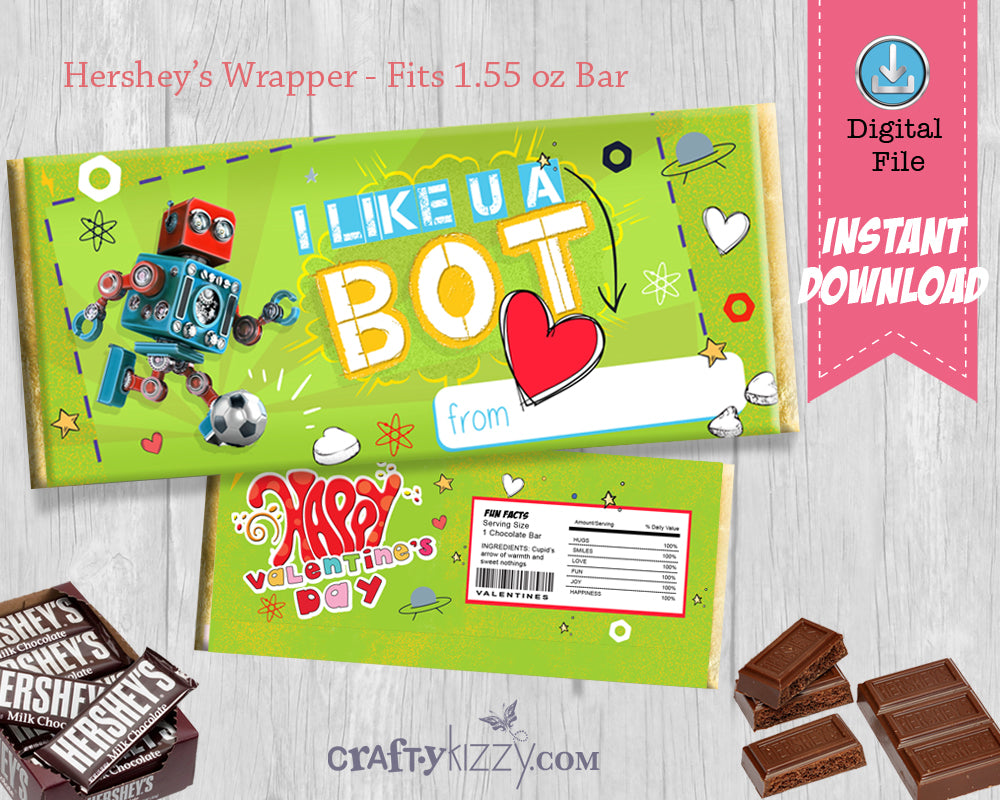 Robot Valentine's Day Candy Bar Wrapper - Boys Soccer Valentine Party Favor - Candy Gram Classroom Favor Label INSTANT DOWNLOAD - CraftyKizzy