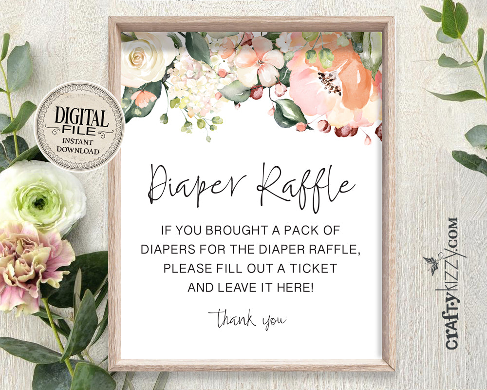 Baby Shower Diaper Raffle Sign Roses - Mommy To Be Game Sign - Diaper Game Printable Table Signs - INSTANT DOWNLOAD