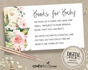 Floral Baby Shower Books For Baby Card - Girl In Full Bloom Baby Shower Book Request Insert - Floral Library Request Card - INSTANT DOWNLOAD