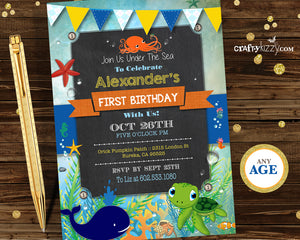 Under the sea first birthday invitation