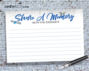 Share A Memory Blue and Silver Graduation Cards - Printable Party Favor - Graduation Games - INSTANT DOWNLOAD - CraftyKizzy