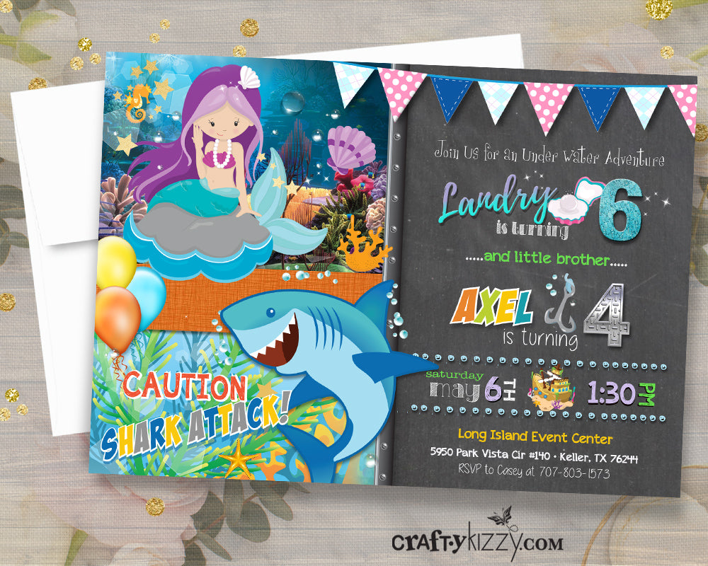 Joint Mermaid and Shark Birthday Party Invitations - Mermaid and Shark Invitation - Girl Boy Invite - Twins - CraftyKizzy