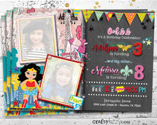 Sibling Birthday Invitations - Ooh La La Birthday Joint Party Invitation - Wonder Woman Superhero Party Invitation