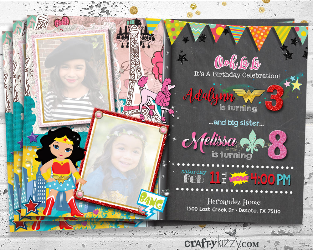 Sibling Birthday Invitations - Ooh La La Birthday Joint Party Invitation - Wonder Woman Superhero Party Invitation - CraftyKizzy