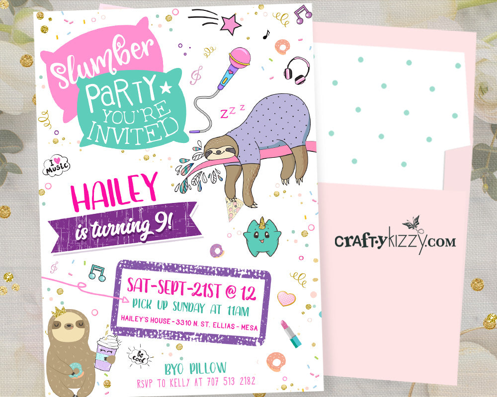 Slumber Party Birthday Invitations - Girl Teen Sleepover Invitation - Pajama Party Sloth Sleep Over Invitation - CraftyKizzy