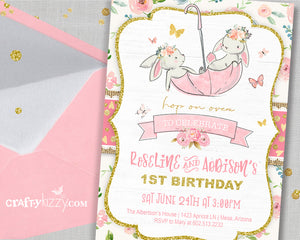 Bunny First Birthday Invitation - Girl Twin Bunnies Invitations - Pink Floral Easter Invitation