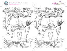 Kids Easter Bunny Coloring Card and Craft Printable Bunny Craft for kids - Colorable Greeting Card - INSTANT DOWNLOAD - CraftyKizzy