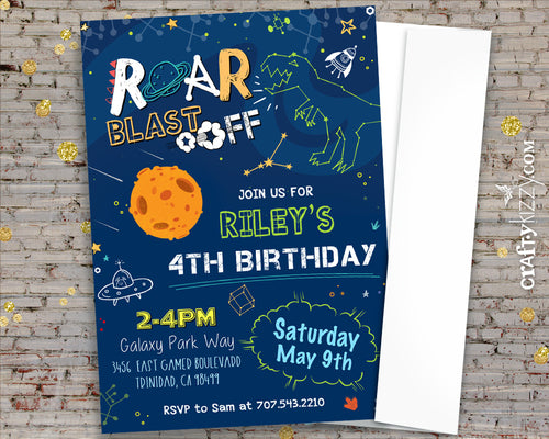 Dinosaur Outer Space Birthday Invitations Astronaut Dino Party Invitations - Galaxy and Stars Boy Invitation - CraftyKizzy