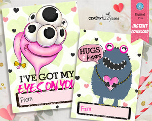 Space Valentines Day Cards for Kids - Cute Valentine Exchange Cards - Alien Boys and Girls Valentine's Classroom Cards - INSTANT DOWNLOAD