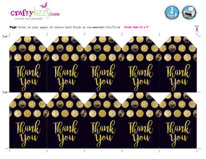 Wedding Black and Gold Thank You tag