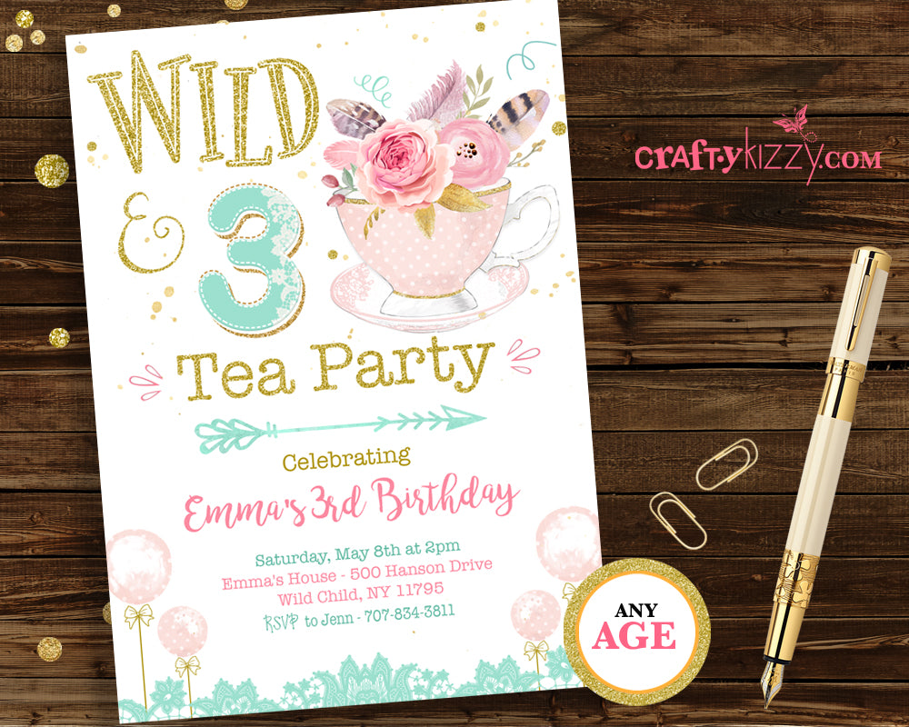 Boho Floral Tea Party Birthday Invitation - Watercolor Girl Wild and Three Birthday Invite Shabby Chic & Gold Printable Invite - CraftyKizzy