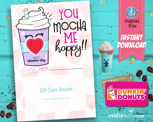 Valentine's Day Gift Card Printable - Coffee Gift Card Holder - Teacher Gift Idea - Valentine Coffee Puns - INSTANT DOWNLOAD - CraftyKizzy
