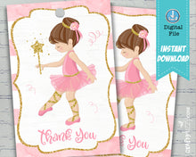 pink ballerina ballet thank you tags