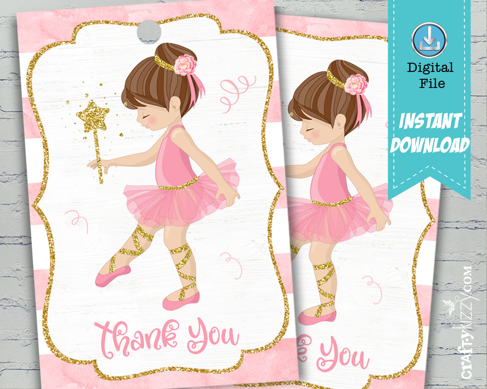 Pink Ballerina Tutu Thank You Tags - Ballet Party Favors - Printable Gold Tag - INSTANT DOWNLOAD - CraftyKizzy
