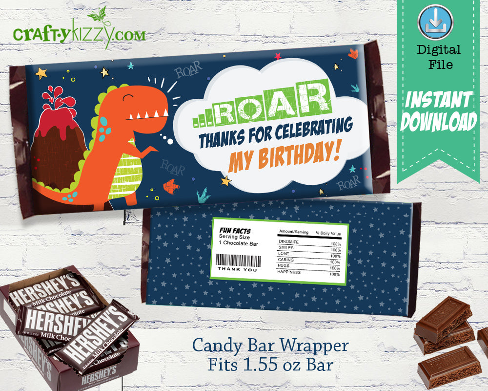Thank You Dinosaur Candy Bar Label - Hershey Chocolate Wrappers - Dino Birthday Party Favor - Printable Party Decor - INSTANT DOWNLOAD - CraftyKizzy