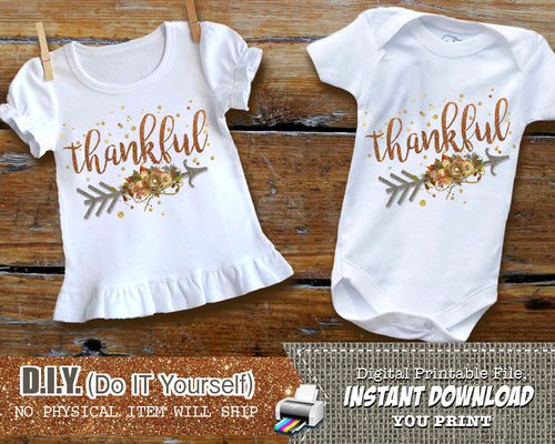 Thankful Rustic Fall Iron On Printable Decal - Thanksgiving Outfit - Digital Transfer - INSTANT DOWNLOAD